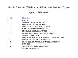 Simple Biosphere (SiB) I km Land Cover Model without Wetland Legend (13 Classes)
