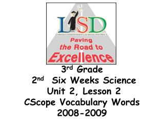 3 rd  Grade   2 nd   Six Weeks Science  Unit 2, Lesson 2  CScope Vocabulary Words 2008-2009