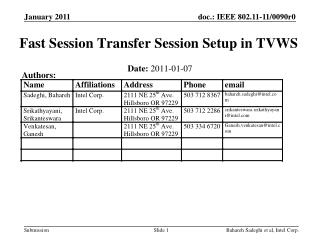 Fast Session Transfer Session Setup in TVWS