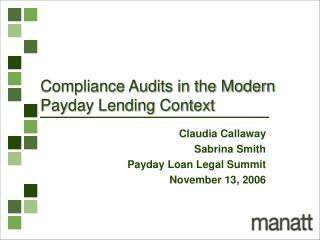 Compliance Audits in the Modern Payday Lending Context