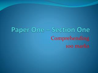 Paper One – Section One