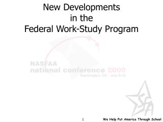 New Developments in the Federal Work-Study Program