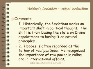 Hobbes's  Leviathan  ~ critical evaluation