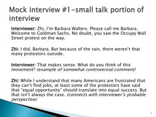 Mock interview  # 1- small talk portion of interview