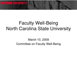 Faculty Well-Being North Carolina State University