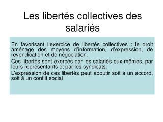 Les libertés collectives des salariés