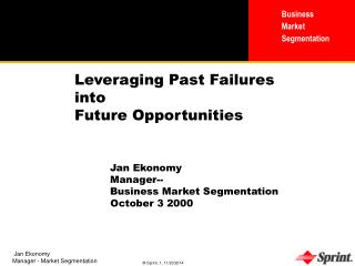 Leveraging Past Failures  into  Future Opportunities 	Jan Ekonomy 	Manager--