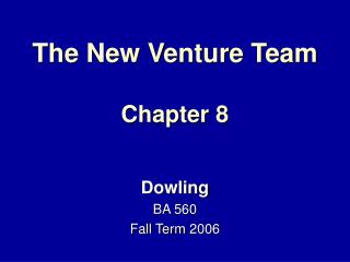 The New Venture Team Chapter 8