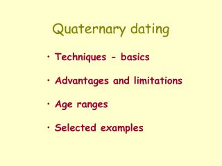 Quaternary dating