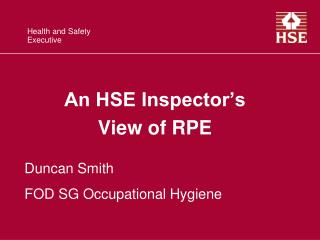 An HSE Inspector's  View of RPE
