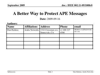 A Better Way to Protect APE Messages