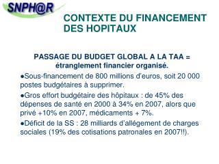 CONTEXTE DU FINANCEMENT DES HOPITAUX