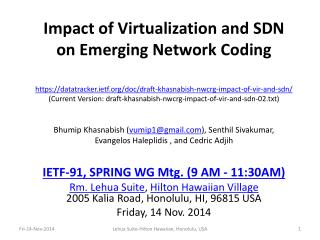 Impact of Virtualization and SDN on Emerging Network Coding