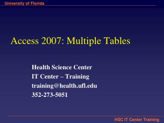 Access 2007: Multiple Tables