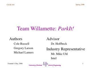 Team Willamette:  ParkIt!