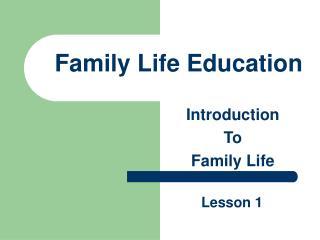 Family Life Education