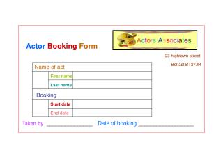 Actor  Booking  Form