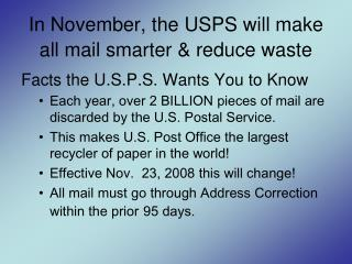 In November, the USPS will make all mail smarter & reduce waste