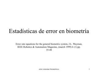 Estad�sticas de error en biometr�a