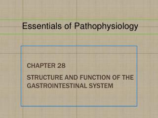 Chapter  28 Structure and Function of the Gastrointestinal System