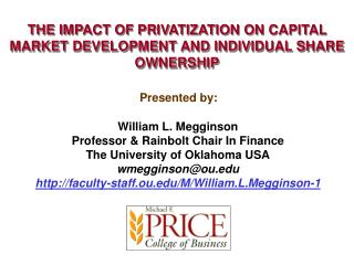 THE IMPACT OF PRIVATIZATION ON CAPITAL MARKET DEVELOPMENT AND INDIVIDUAL SHARE OWNERSHIP