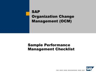 Sample Performance Management Checklist