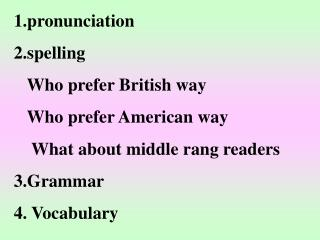 1.pronunciation  2.spelling    Who prefer British way    Who prefer American way