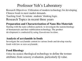Professor Yeh's Laboratory