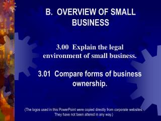 B.  OVERVIEW OF SMALL BUSINESS