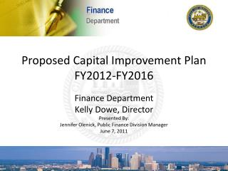 Proposed Capital Improvement Plan FY2012-FY2016