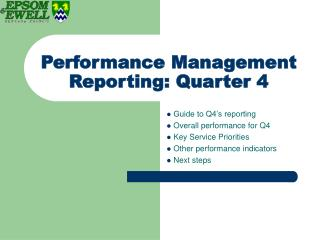 Performance Management Reporting: Quarter 4