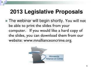 2013 Legislative Proposals