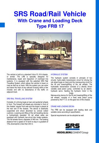 SRS Road/Rail Vehicle With Crane and Loading Deck Type  F RB 1 7