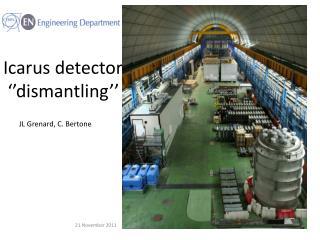 Icarus detector '' dismantling ''