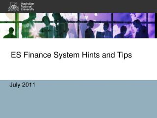 ES Finance System Hints and Tips
