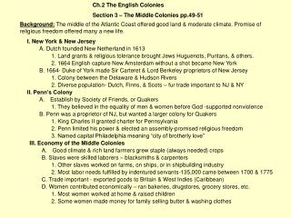 Ch.2 The English Colonies Section 3 – The Middle Colonies pp.49-51
