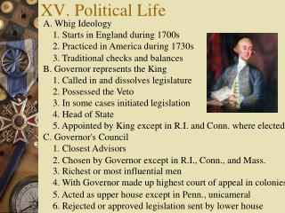 XV. Political Life