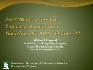 Asset Management &  Capacity Development  Guidelines for PWS - Chapter 11