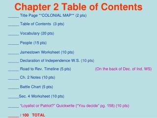 Chapter 2 Table of Contents