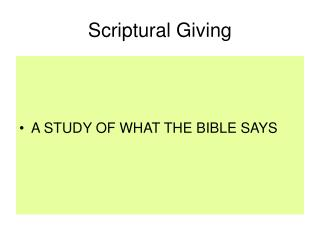 Scriptural Giving