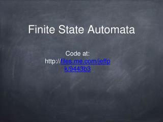 Finite State Automata