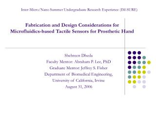 Fabrication and Design Considerations for Microfluidics-based Tactile Sensors for Prosthetic Hand