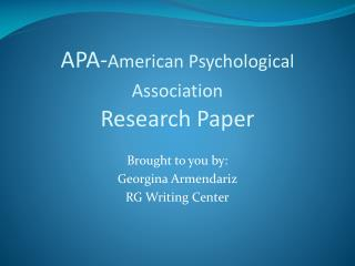APA-American Psychological Association  Research Paper