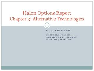 Halon  Options Report Chapter 3: Alternative Technologies