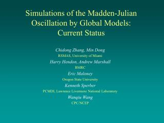 Simulations of the Madden-Julian Oscillation by Global Models:  Current Status