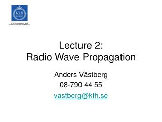 Lecture 2: Radio Wave Propagation