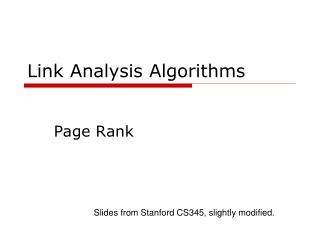 Link Analysis Algorithms