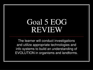 Goal 5 EOG REVIEW