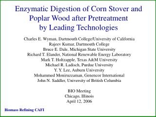 Enzymatic Digestion of Corn Stover and Poplar Wood after Pretreatment  by Leading Technologies