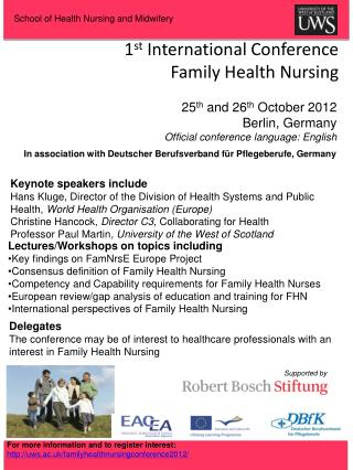 1 st  International Conference  Family Health Nursing